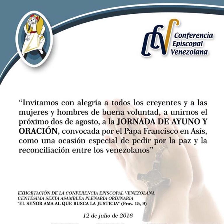 Jornada de Ayuno y Oración por la paz y reconciliación en Venezuela ...